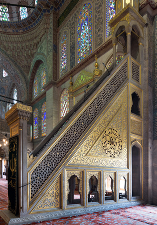Marble golden floral ornate minbar (Platform), Sultan Ahmed Mosque (Blue Mosque), Istanbul, Turkey