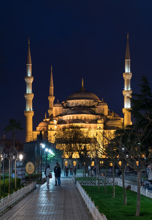 Istanbul, Turkey - April 16, 2017: Blue Mosque (Sultanahmet Camii) at night