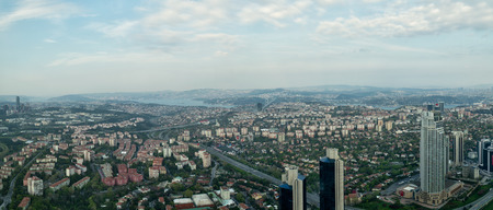 Istanbul, Turkey - April 23, 2017: Istanbul city view from Istanbul Sapphire skyscraper overlooking the Bosphorus before sunset, Istanbul, Turkey Editorial