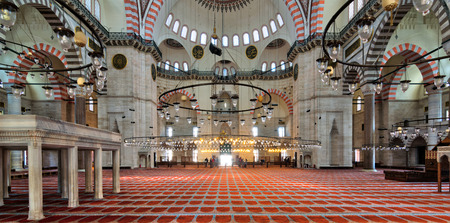 Istanbul, Turkey - April 19, 2017: Interior shot of Sulaymaniye Mosque, the second largest mosque in Istanbul, Turkey Editorial