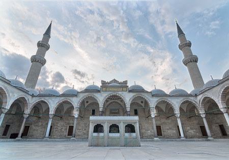 Exterior low angle day shot of Suleymaniye Mosque, an Ottoman imperial mosque located on the Third Hill of Istanbul, Turkey, and the second largest mosque in the city. built in 1557