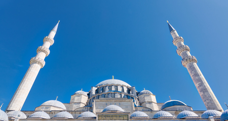 Exterior low angle day shot of domes Suleymaniye Mosque. An Ottoman imperial mosque located on the Third Hill of Istanbul, Turkey, and the second largest mosque in the city. built in 1557 Editorial