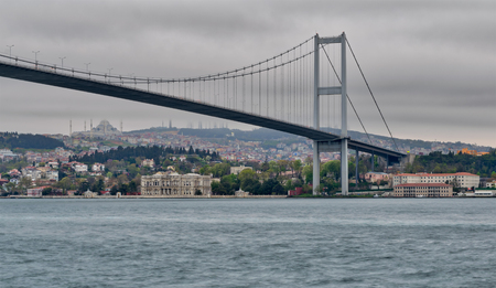Bosporus Bridge at dusk time, Ortakoy district, Istanbul Turkey Stock Photo