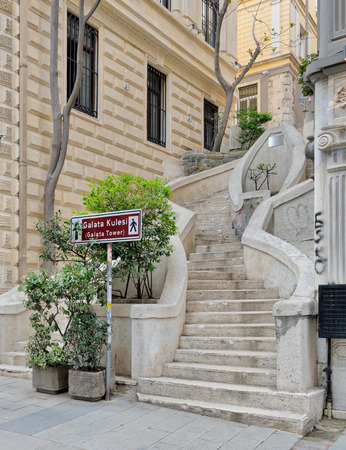 Camondo Steps, a famous pedestrian stairway leading to Galata Tower, built around 1870, located on Banks Street in Galata (Karakoy) district of Istanbul, Turkey Stock Photo