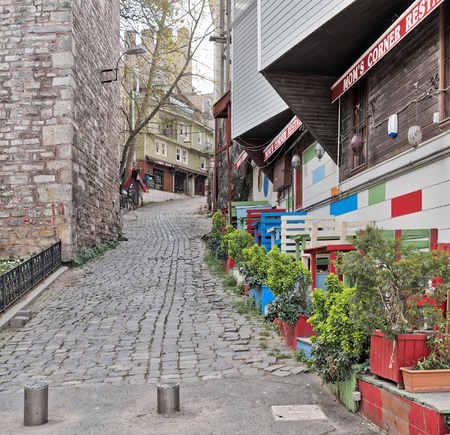 Istanbul, Turkey - April 16, 2017: Traditional small restaurant beside Gulhane Park, Sultan Ahmet district, Istanbul at the early morning