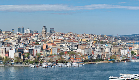 Istanbul, Turkey - April 19, 2017: Istanbul city view from Suleymaniye Mosque overlooking the Golden Horn with Galata Tower in the background, Istanbul, Turkey Editorial