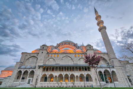 Exterior low angle shot of Suleymaniye Mosque before dusk. An Ottoman imperial mosque located on the Third Hill of Istanbul, Turkey, and the second largest mosque in the city. built in 1557