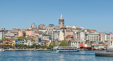 Istanbul, Turkey - April 25, 2017: City view of Istanbul from the sea overlooking Galata Tower