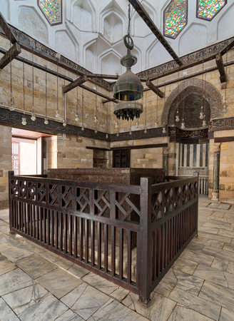 Cairo, Egypt - September 23, 2017: Interior of Mausoleum of al-Salih constructed by As-Saleh Nagm Ad-Din Ayyub in 1242-44, Al Muizz Street, Old Cairo Editorial