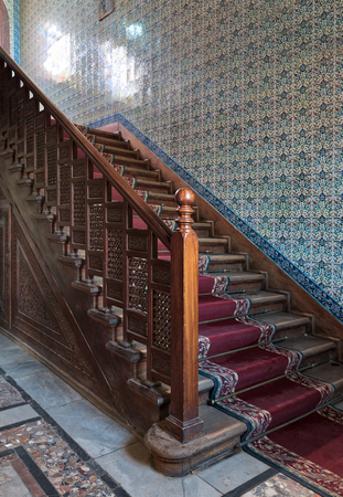 Beau Stock Photo   Wooden Staircase With Ornate Red Carpet, Decorated Wooden  Balustrade And Turkish Ceramic Tiles Wall At The Residence Hall, Manial  Palace Of ...