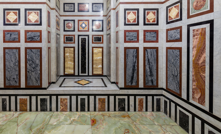 Decorated marble wall and marble tiled floor at al Refai Mosque, Cairo, Egypt Stock Photo