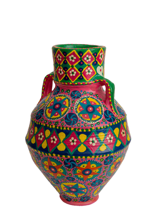 Handmade artistic pained colorful pottery vase (arabic: Kolla) isolated on white