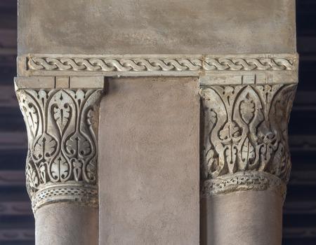 Close up of decorative column capitals at Ibn Tulun historic public mosque, Cairo, Egypt
