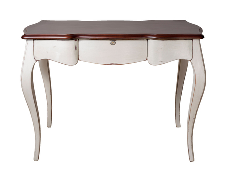 Vintage Furniture - Retro wooden desk table with white legs and three drawers isolated on white background