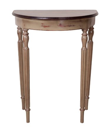 Vintage Furniture - Retro wooden half moon console table with brown top and beige legs isolated on white background including clipping path Stock Photo