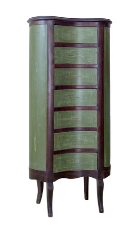 Vintage Furniture - Retro wooden antique seven drawer chest painted in green and dark brown isolated on white background including clipping path