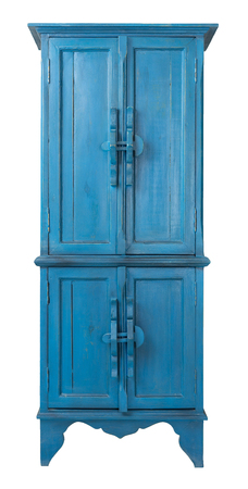 Vintage Furniture - Retro wooden antique turquoise cupboard isolated on white background