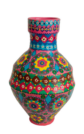 Handmade artistic pained colorful pottery vase (arabic: Kolla) isolated on white including clipping path Stock Photo