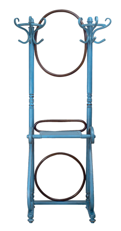 Vintage double wooden coat hanger stand with two rounded mirrors painted in turquoise and brown colors isolated on white including clipping path