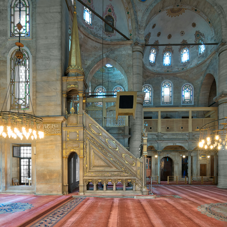 Marble floral golden ornate minbar (Platform), Eyup Sultan Mosque situated in the Eyup district, Istanbul, Turkey, outside the city walls near the Golden Horn. The present building dates from the beginning of the 19th century