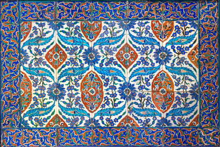 Ottoman era style glazed ceramic tiles from Iznik (Turkey) decorated with floral ornamentations, From the Museum Of Islamic Art holdings, Cairo, Egypt 写真素材