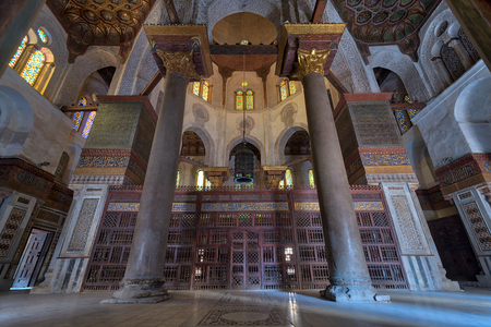 Interior view of   the mausoleum of Sultan Qalawun, part of Sultan Qalawun Complex built in 1285 AD, located in Al Moez Street, Cairo, Egypt