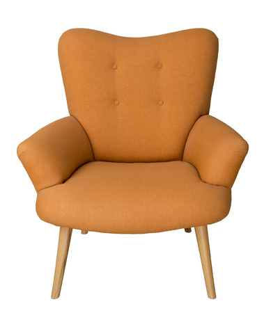 Stock Photo   Vintage Furniture: French Orange Wingback Armchair With Wooden  Legs Isolated On White Background Including Clipping Path