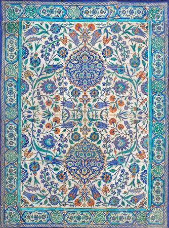 Ottoman era style glazed ceramic tiles from Iznik (Turkey) decorated with floral ornamentations, Cairo, Egypt