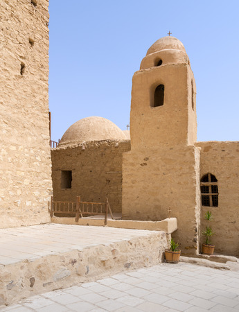 Tower and dome of the Church of St. Paul & St. Mercurius, Monastery of Saint Paul the Anchorite (aka Monastery of the Tigers), dates to the fifth century AD and located in the Eastern Desert, near the Red Sea mountains, Egypt