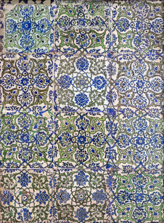 Ottoman era style glazed ceramic tiles decorated with floral ornamentations, Cairo, Egypt