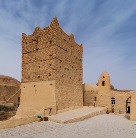 Small fort and tower at the Monastery of Saint Paul the Anchorite (aka Monastery of the Tigers), dates to the fifth century AD and located in the Eastern Desert, near the Red Sea mountains, Egypt Stock Photo