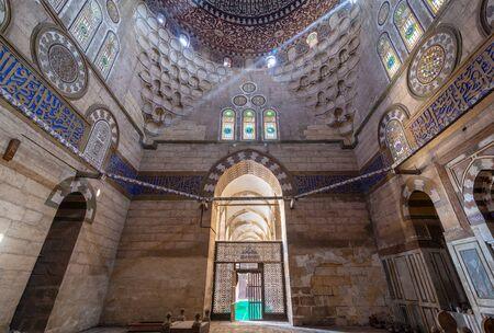 Cairo, Egypt - April 7 2018: Mausoleum of Sultan Al Zaher Barquq wife and daughters at the complex of Al Nasr Farag Ibn Barquq complex located at the city of the dead