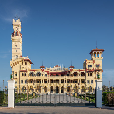 Front view of the royal palace at Montaza public park before sunset, Alexandria, Egypt Stock Photo