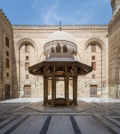 Ablution fountain mediating the courtyard of Al-Sultan Al-Zahir Barquq Mosque, Al Moez Street, Cairo, Egypt Stock Photo