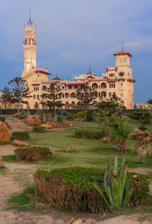 Royal palace at Montaza public park before sunset, Alexandria, Egypt Editorial