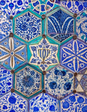 Mamluk era glazed ceramic tiles decorated with floral ornamentations, Public fountain of Qaitbay, Cairo, Egypt Stock Photo