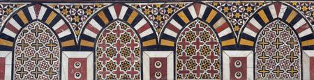 Mamluk era marble mosaic panel with geometric decorations, Al Ashraf Barsbay Mosque, City of the dead, Cairo, Egypt