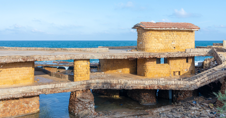 Deteriorated cabin of Egyptian formal president Muhammad Anwar el-Sadat who used to spend his summer holidays in located in Montaza Park by the coast of the Mediterranean Sea, Alexandria, Egypt