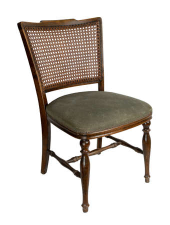 Retro wooden french cane back dining chair isolated on white background including clipping path