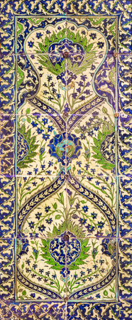 Ottoman era style glazed ceramic tiles from Iznik (Turkey) decorated with floral patterns ornamentations Stock Photo