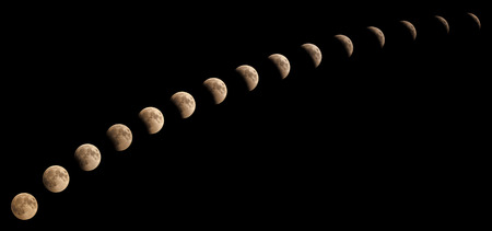 Time series of lunar eclipse on July 27 2018, sequence of phases from 8:08 pm to 9:18pm, captured in Cairo, Egypt. Assembled of 15 photos with almost five minutes time interval between each other