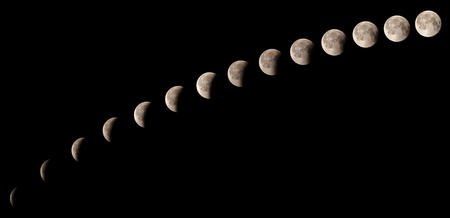 Time series of lunar eclipse on July 27 2018, sequence of phases from 11:20 pm to 12:31 am, captured in Cairo, Egypt. Assembled of 14 photos with almost five minutes time interval between each other