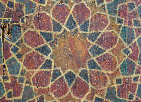 Closeup of ornaments of a wooden cupboard painted with colored geometrical patterns, Sultan al Ghuri Mausoleum, Cairo, Egypt
