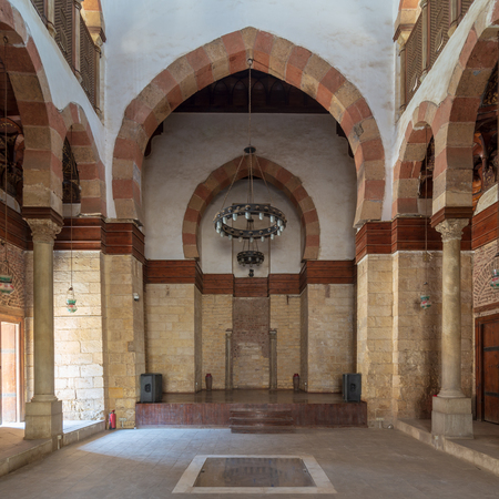 Main hall of Beshtak Palace (Qasr Bashtak), a Mamluk era ancient historic palace, located in an area called Bayn al-Qasrayn (between the two palaces) in Muizz Street, Cairo, Egypt