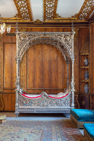 Manial Palace of Prince Mohammed Ali Tawfik. Silver bed at the residence of princes mother, Cairo, Egypt
