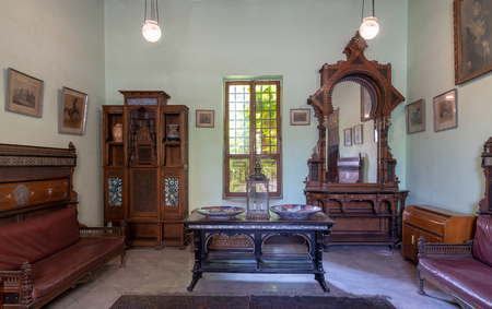 Historical Manial Palace of Prince Mohammed Ali. Ceremonies Room with vintage furniture, Cairo, Egypt - Open for the public