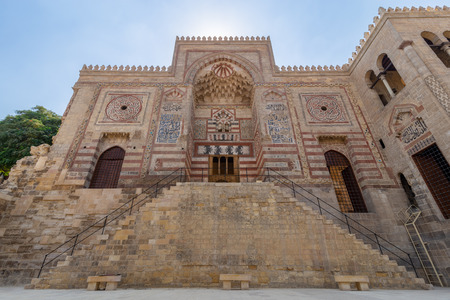 Exterior facade of Al-Muayyad Bimaristan (Hospital) historic building, Darb Al Labana district, Old Cairo, Egypt