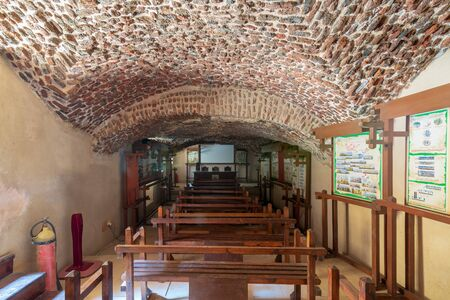Cairo, Egypt - September 15 2018: Hall at the basement of the House of Egyptian Architecture historical building with bricks arched ceiling Stock Photo - 133071074