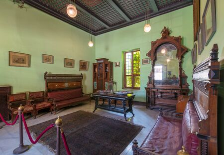 Historical Manial Palace of Prince Mohammed Ali. Ceremonies Room with vintage furniture, Cairo, Egypt - Open for the public Stock Photo - 133071077