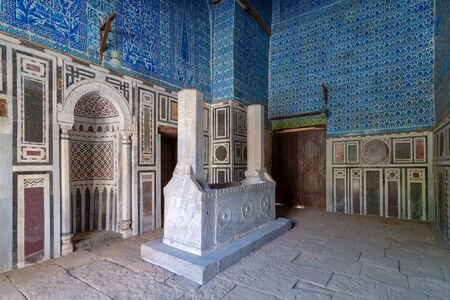 Tomb of Ibrahim Agha Mustahfizan, attached to the Mosque of Aqsunqur (Blue Mosque), Bab El Wazir district, Old Cairo, Egypt Stock Photo - 133071405